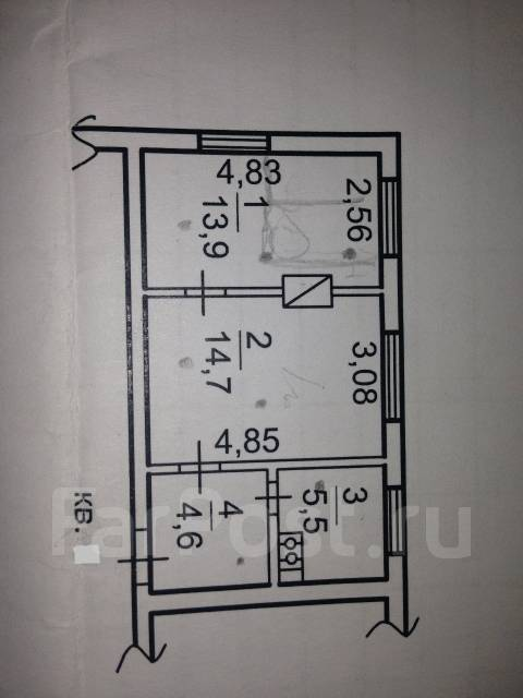 2-комнатная, улица Восточная 4-я 3. Весенняя, агентство, 38 кв.м. План квартиры