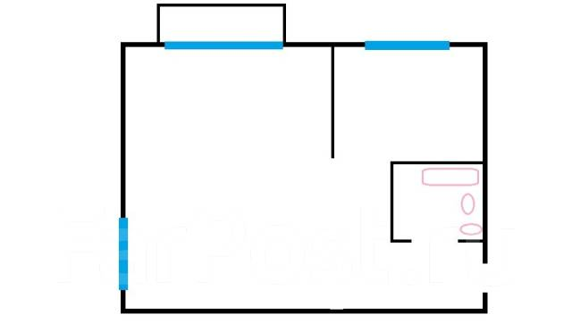 1-комнатная, улица Луговая 77. Баляева, агентство, 30 кв.м. План квартиры