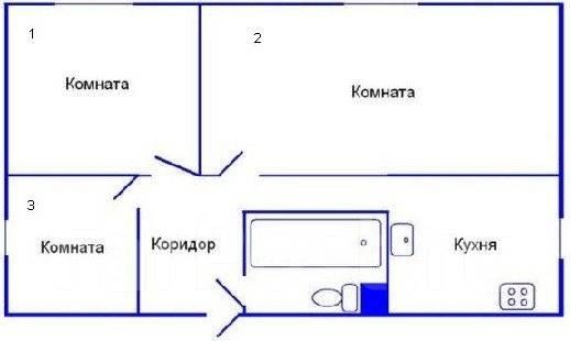 3-комнатная, улица Луговая 83б. Баляева, частное лицо, 61 кв.м. План квартиры