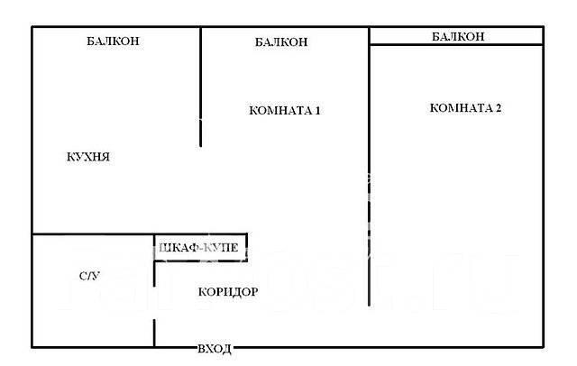 2-комнатная, проспект Красного Знамени 88. Толстого (Буссе), агентство, 56 кв.м. План квартиры