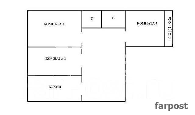 3-комнатная, улица Каплунова 8. 64, 71 микрорайоны, частное лицо, 67 кв.м. План квартиры