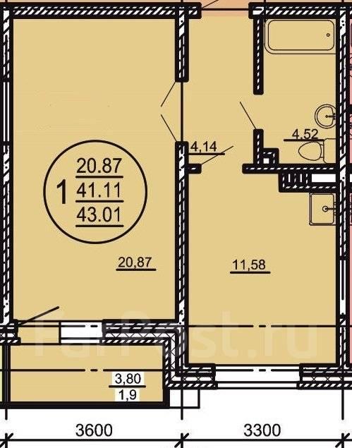 1-комнатная, улица Блюхера 5. Индустриальный, агентство, 43 кв.м.