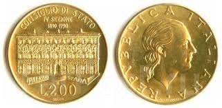 Италия 200 лир 1990 год