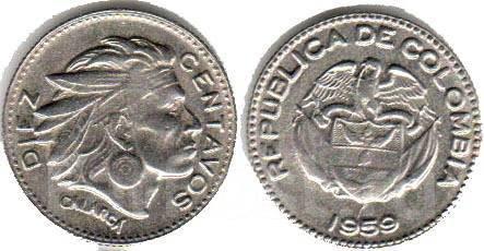 Колумбия 10 сентаво 1959 год