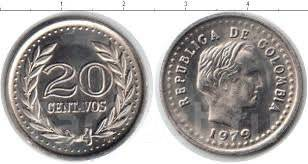 Колумбия 20 сентаво 1975 год