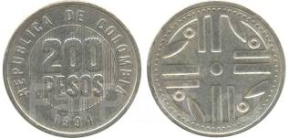 Колумбия 200 песо 1995 год