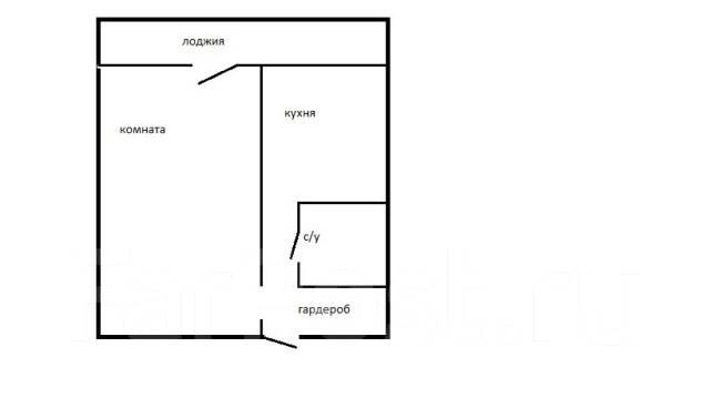 1-комнатная, улица Ульяновская 12/2. БАМ, частное лицо, 36 кв.м. План квартиры