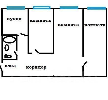 3-комнатная, улица Сипягина 32. Эгершельд, агентство, 60 кв.м. План квартиры