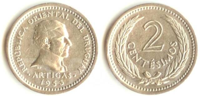 Уругвай 2 сентесимо 1953 год