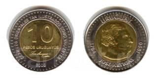 Уругвай 10 песо 2000 год