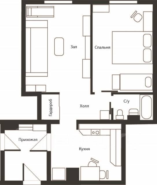 2-комнатная, улица Котельникова 17. Баляева, частное лицо, 42 кв.м. План квартиры