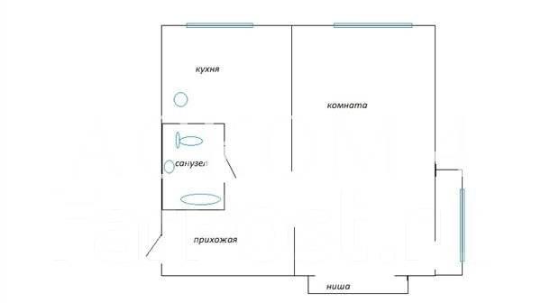 1-комнатная, улица Часовитина 7. Борисенко, агентство, 34 кв.м. План квартиры