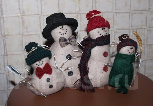 Семейка снеговиков под ёлочку. Hand Made.