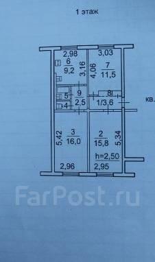 3-комнатная, улица Подножье 34. о. Русский, агентство, 63 кв.м. План квартиры