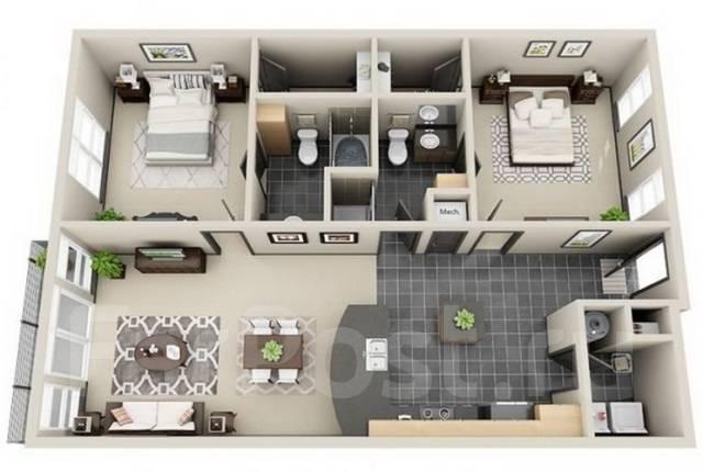 3-комнатная, улица Красногвардейская 24. Центральный, агентство, 64 кв.м.