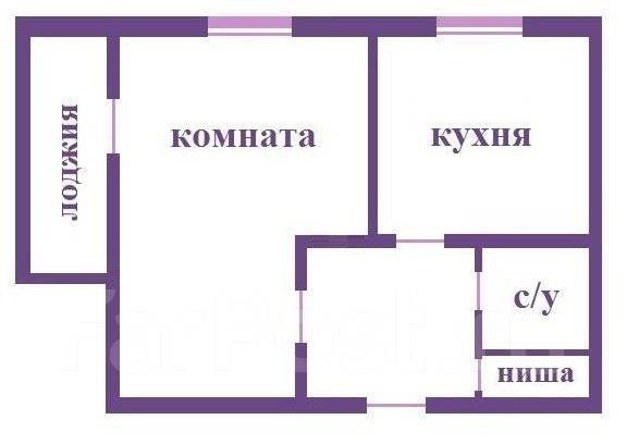 1-комнатная, улица Кирова 20а. Вторая речка, агентство, 33 кв.м. План квартиры