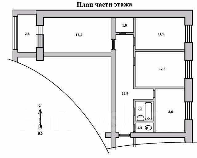 3-комнатная, Верхненабережная улица, 37. Китайгород, частное лицо, 70 кв.м.