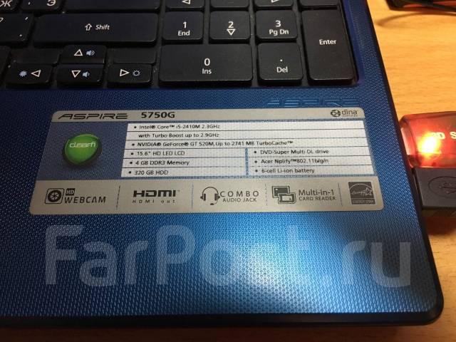 Acer Aspire 5750G. 2,3ГГц, ОЗУ 6144 МБ, диск 320 Гб, WiFi