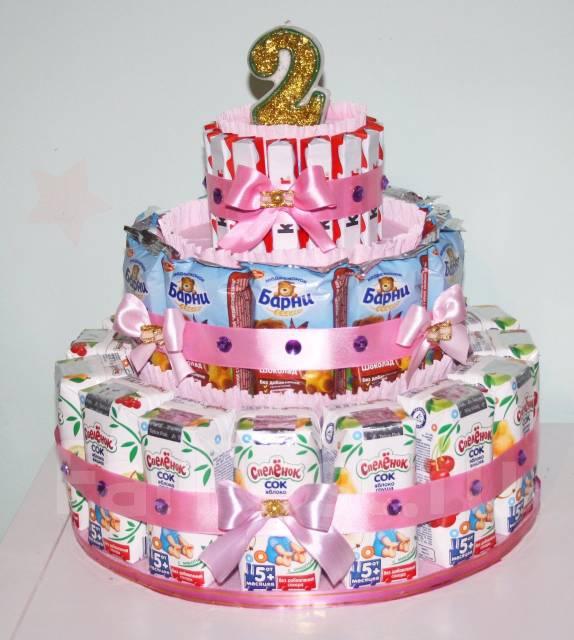 Тортик в детский сад из сладостей и соков. Под заказ