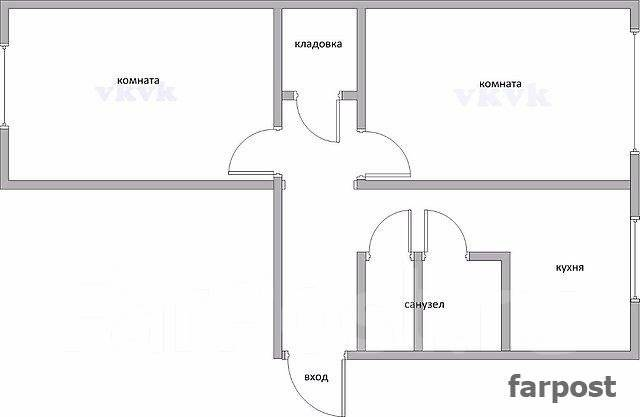 2-комнатная, улица Тухачевского 24. БАМ, проверенное агентство, 44 кв.м. План квартиры