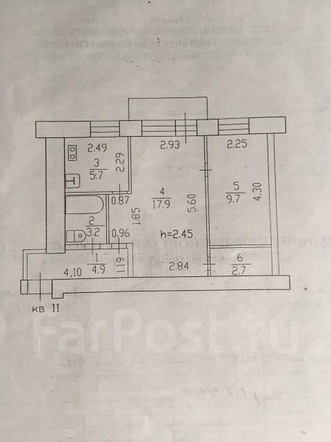 2-комнатная, улица Дикопольцева 72. Центральный, частное лицо, 45 кв.м. План квартиры