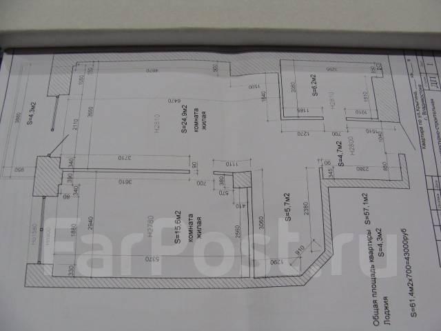 1-комнатная, улица Авраменко 2б. Эгершельд, частное лицо, 60 кв.м. План квартиры