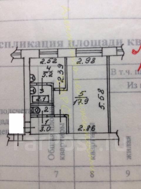 1-комнатная, проспект 100-летия Владивостока 26. Столетие, проверенное агентство, 30 кв.м. План квартиры