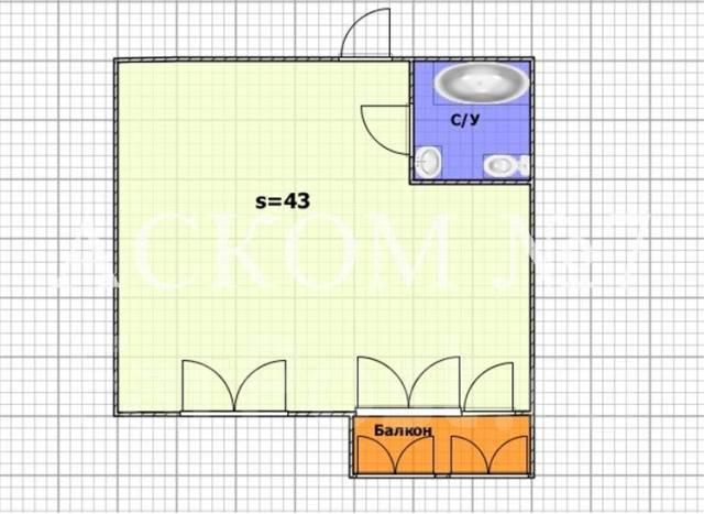 1-комнатная, улица Ватутина 4д. 64, 71 микрорайоны, агентство, 43 кв.м. План квартиры