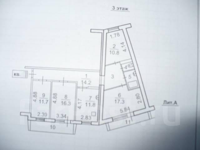 4-комнатная, улица Вострецова 10б. Столетие, частное лицо, 91 кв.м. План квартиры