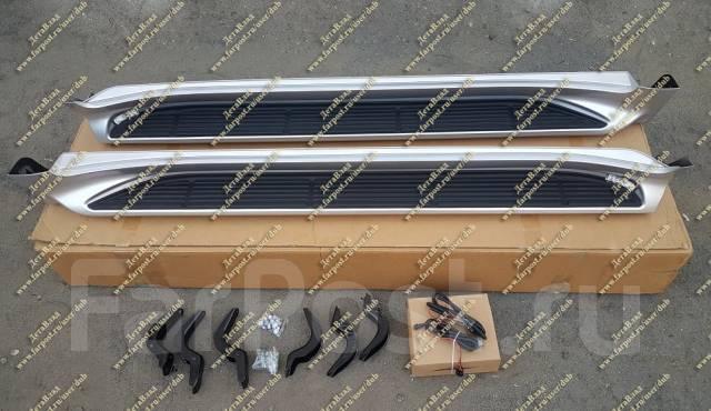 Подножки с подсветкой Land Cruiser 200 (Ленд Крузер)серебристые с 16г-. Toyota Land Cruiser