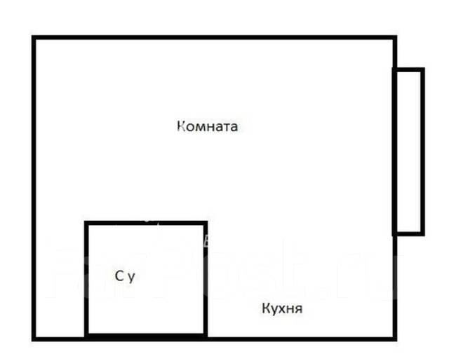 1-комнатная, улица Калинина 49. Чуркин, агентство, 33 кв.м. План квартиры