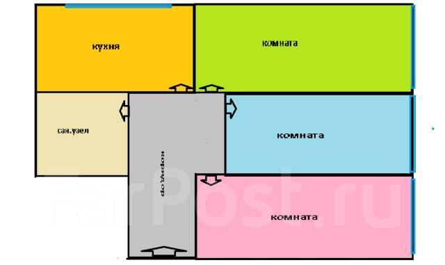 3-комнатная, проспект 100-летия Владивостока 84. Вторая речка, агентство, 60 кв.м. План квартиры