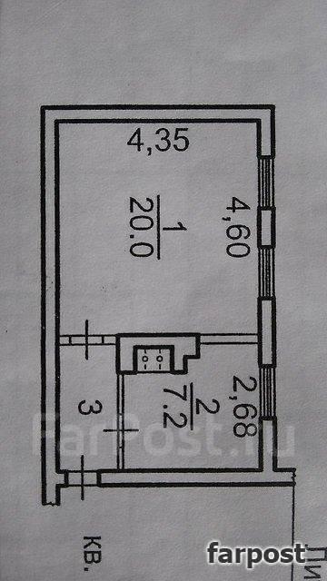 1-комнатная, улица Марченко 38. Третья рабочая, проверенное агентство, 33 кв.м. План квартиры