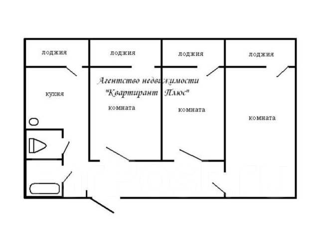 3-комнатная, улица Жигура 24. Третья рабочая, проверенное агентство, 67 кв.м. План квартиры