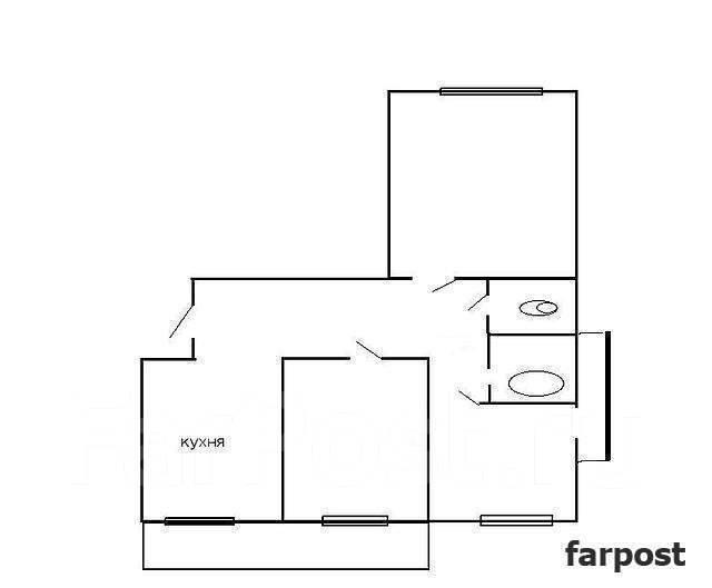3-комнатная, улица Адмирала Горшкова 40. Снеговая падь, проверенное агентство, 69 кв.м. План квартиры