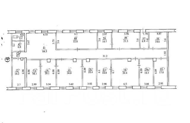 Офисные помещения в г. Биробиджан. 386 кв.м., улица Пионерская 67, р-н Центральный. План помещения