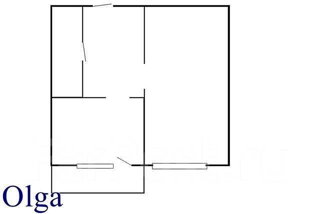 1-комнатная, улица Кирова 14. Вторая речка, агентство, 24 кв.м. План квартиры