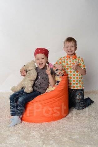 Бескаркасная мебель, кресло-мешок - БОБ детский оранж+комби