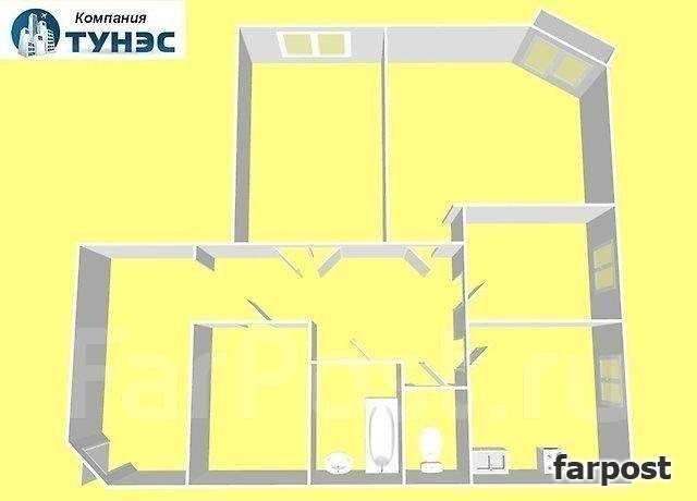 3-комнатная, улица Адмирала Горшкова 2. Снеговая падь, проверенное агентство, 85 кв.м. План квартиры