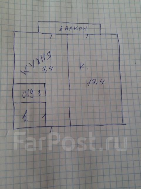 1-комнатная, улица Чапаева 2. центр, частное лицо, 33 кв.м. План квартиры