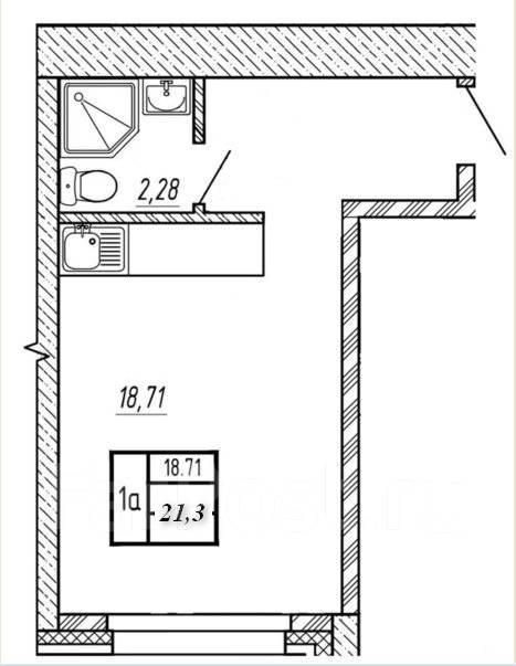 1-комнатная, улица Ватутина 4д. 64, 71 микрорайоны, застройщик, 21 кв.м. План квартиры