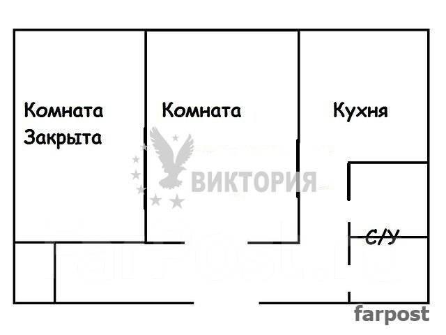 1-комнатная, улица Никифорова 10. Борисенко, агентство, 36 кв.м. План квартиры