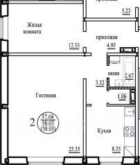 1-комнатная, улица Виталия Потылицына 7. Октябрьский, агентство, 39 кв.м.
