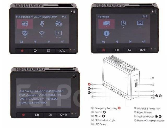 Автомобильный видеорегистратор Xiaomi Yi 1080P Car WiFi DVR