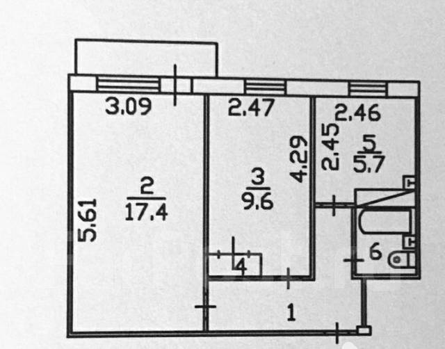 2-комнатная, улица Кирова 18. Центр, агентство, 44 кв.м. План квартиры