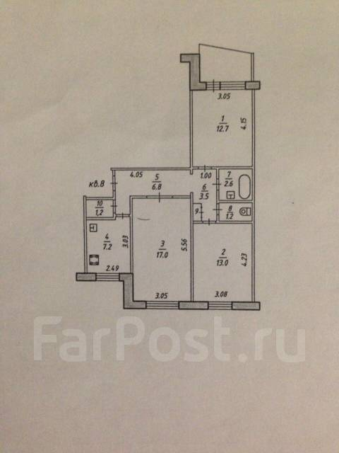 3-комнатная, улица Волочаевская 82. Центральный, частное лицо, 67 кв.м.