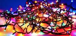 Гирлянда из 100 небьющихся цветных ламп многодетная, новая.