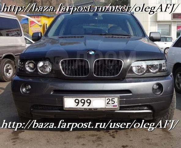 Фары линзовые, диодные, тюнинг, черные для BMW X5 c 2001 г. и выше. BMW X5, E53 Двигатели: M54B30, M57D30, M62B44TU, M62B46