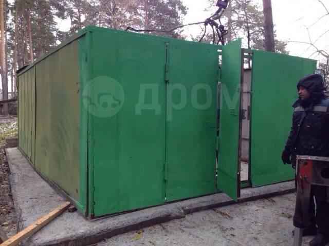 Железный гараж с установкой подготовка земли для металлического гаража