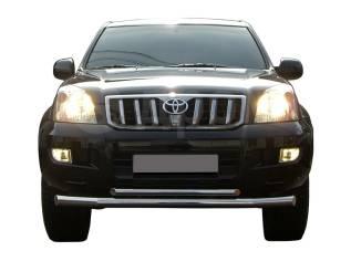 Защита бампера. Toyota Land Cruiser Prado, GRJ120, GRJ120W, KDJ120, KDJ120W, KZJ120, LJ120, RZJ120, RZJ120W, TRJ120, TRJ120W, VZJ120, VZJ120W